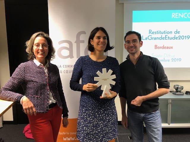 photo de Marina Bellouin Volant du président de l'Apacom et de la gagnante des trophées de la com 2019 dans la catégorie communication interne