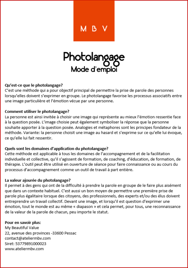mode d'emploi photolangage créé par My Beautiful Value