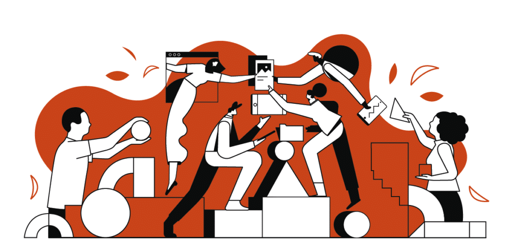 illustration en orange et blanc de 5 personnages qui apprennent ensemble