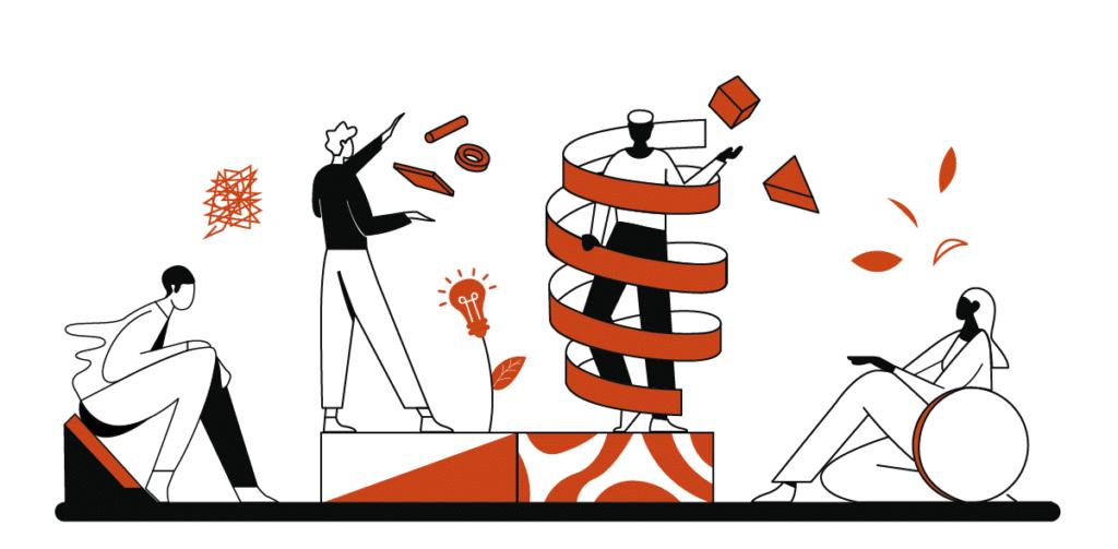 illustration en orange et blanc de 4 personnages qui vivient des expériences événementielles ensemble