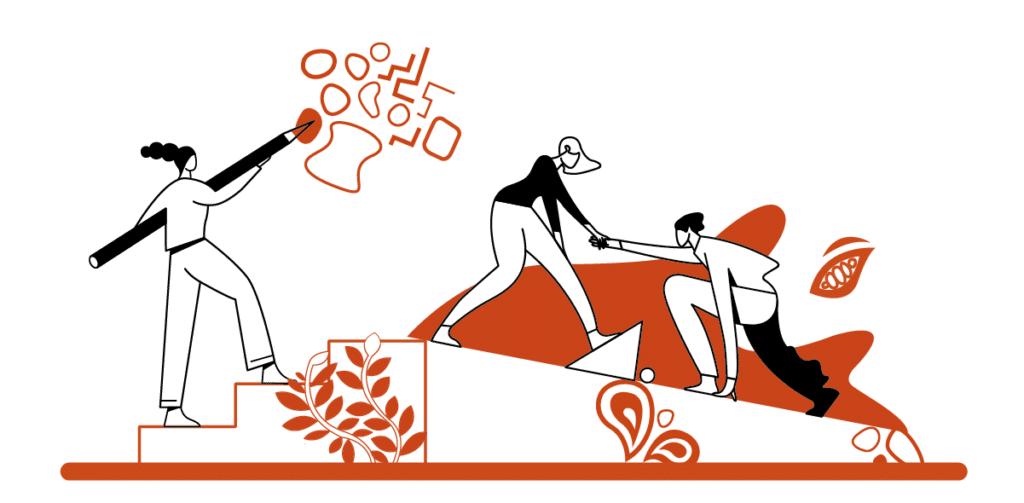 illustration en orange et blanc de 3 personnages qui représentent le soutient, l'entraide et l'accompagnement à grandir