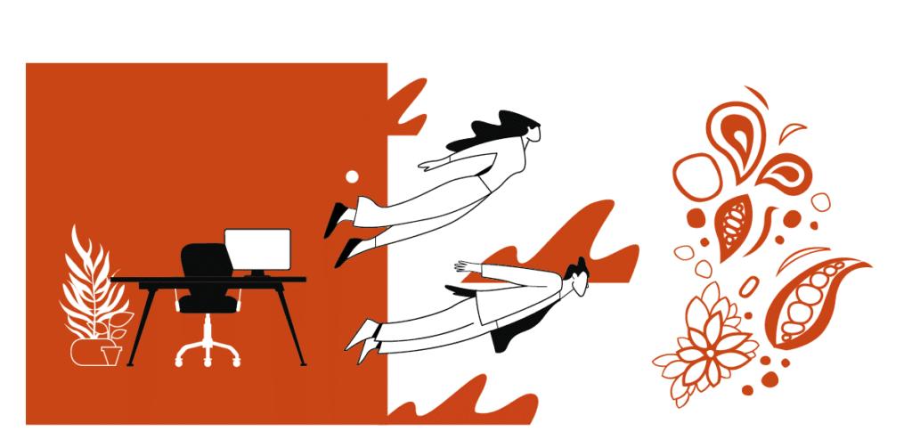 illustration en orange et blanc représentant 2 personnages qui volent de leur bureau vers My Beautiful Value