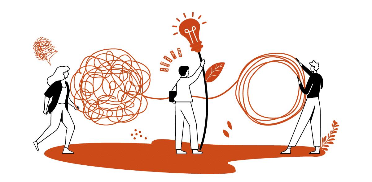 illustration en orange et blanc représentant 3 personnages qui dénouent une pelote avec une amppule bonne idée