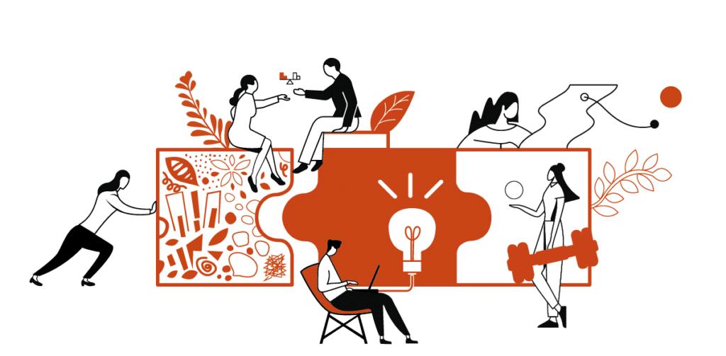 Illustration en orange et blanc qui représente des personnages en train de collaborer et de co-construire à l'image d'un puzzle